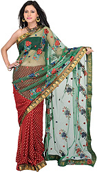 Pompeian-Red and Green Wedding sari with Embroidered Flowers