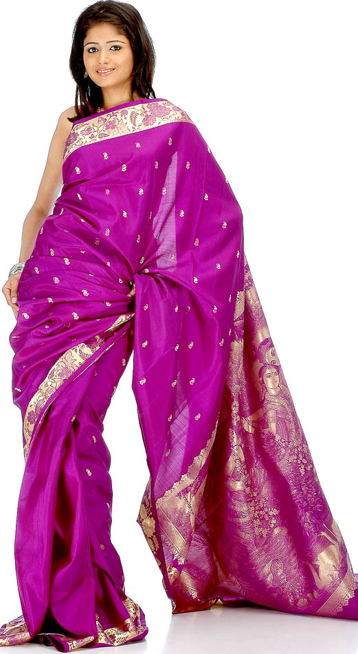 Superfine Purple Bangalore Silk Sari With Radha Krishna On