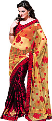 Red and Beige Wedding Sari with Embroidered Flowers All-Over