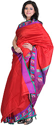 Red and Purple Sari from Banaras with Hand-woven Floral Border and Self Weave