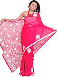 Rose-Red Hand Embroidered Phulkari Sari from Punjab