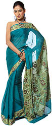 Teal-Blue Banarasi Sari with Brocaded Floral Border and Anchal