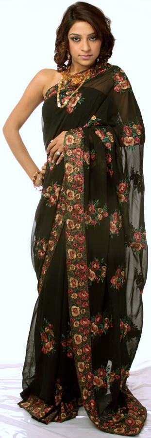 Black Wedding Sari with Parsi Embroidered Flowers AllOver How to wear a