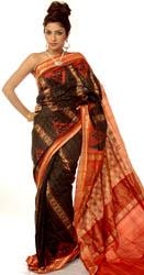 Black and Orange Sambhalpuri Sari with All-Over Ikat Weave from Orissa
