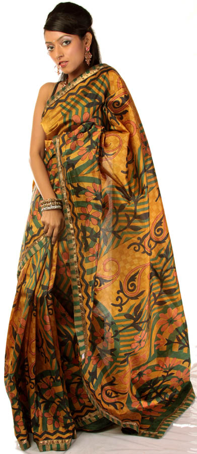 Golden printed sari from bangalore with patch border