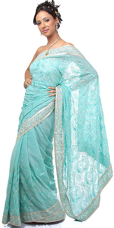 Aqua Wedding Sari with HandEmbroidered Iridescent Beads and Crystals