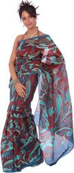 Burgundy Printed Sari from Bangalore with Threadwork and Sequins