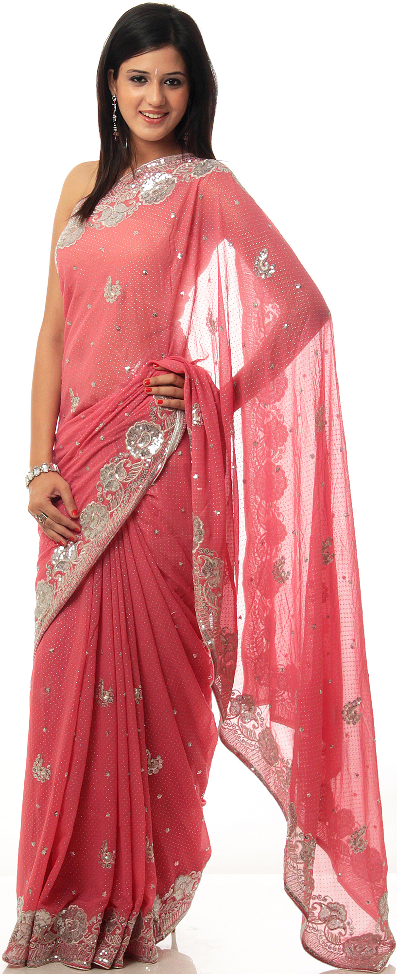 Rose Pink Sari With Crewel Embroidered Flowers And Mokaish