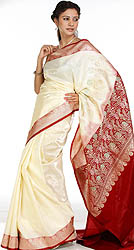 Valkalam Banarasi Sari with Golden Bootis and Brocaded Anchal