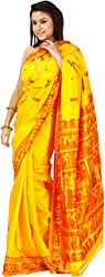 Golden-Yellow Baluchari Sari with Woven Radha and Krishna