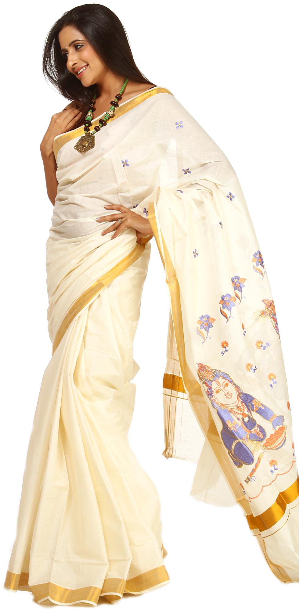 Ivory Kasavu Sari From Kerala With Embroidered Bal Krishna