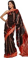 Black and Orange  Sambhalpuri Sari with Ikat Weave All Over and Rudraksha Border