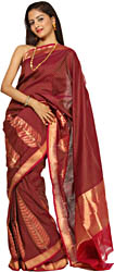 Fuchsia Hand-woven Banarasi Sari with Giant Leaves on Border