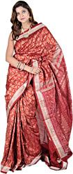 Autumn Glaze-Red Sambhalpuri Sari from Orissa with Ikat Weave and Auspicious Motifs