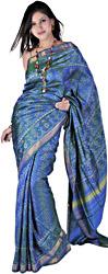 Provincial-Blue Gujarati Patan Patola Sari with Ikat Weave