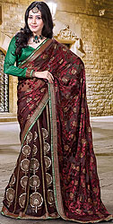 Oxblood-Red Wedding Lehenga-Sari with Metallic Thread Embroidered Flowers and Patch Border