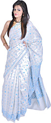 Snow-White Sari with Kantha Stitched Embroidered Folk Figures Inspired by Warli Art