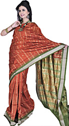 Rust and Green Bomkai Hand-woven Sari from Orissa with Bootis in Golden Thread and Temple Border