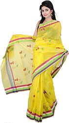 Buttercup-Yellow Chanderi Sari with Hand-Woven Birds and Striped Border