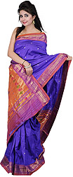 Royal-Blue Authentic Paithani Sari with Peacocks Hand-woven on Anchal