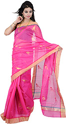Magenta Chanderi Sari with Hand-Woven Parrots and Golden Border