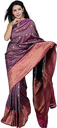 Festival-Fuchsia Banarasi Jamdani Sari with Hand-Woven Flowers and Brocadaed Aanchal