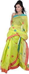Lime Punch-Green Chanderi Sari from Madya Pradesh with Hand Woven Bootis