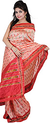 Coral-Pink Ikat Sari Hand-Woven in Pochampally