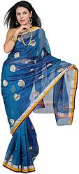 Stellar-Blue Chanderi Sari with Hand-Wobven Bootis in Golden Thread