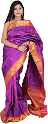 Deep-Orchid Kanjivaram Sari with Hand-woven Flowers on Brocaded Anchal