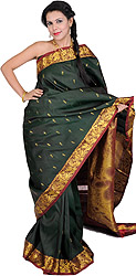 Rosin-Green Kanjivaram Sari with Hand-woven Little Krishna on Anchal