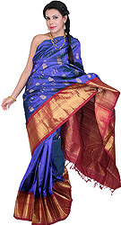 Royal-Blue Kanjivaram Sari with Hand-woven Bootis and Brocaded Anchal