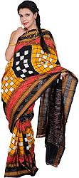 Black and Citrus-Yellow Sambhalpuri Sari from Orissa with Woven Checks and Ikat Weave