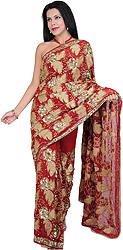 Jester-Red Bridal Sari with Metallic Thread Embroidered Sequins and Beads