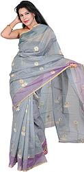 Steel-Gray Chanderi Sari with Hand Woven Flowers in Golden Thread