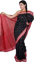 Black Sari from Sambhalpur with Ikat Weave and Rudraksha Border