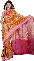 Camel-Brown Banarasi Sari with Woven Flowers in Golden Thread All-Over