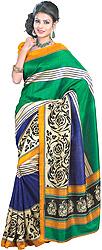Tri-Color Sari with Arabesque Print