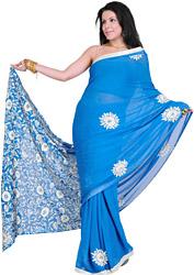 Imperial Blue Hand Embroidered Phulkari Sari from Punjab