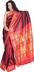 Bridal-Red Authentic Paithani Sari with Hand-woven Flower Vase on Pallu