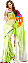 Green-Shaded Polka Dotted Sari with Multi Color Print and Patch Border