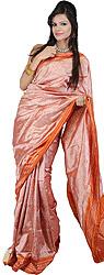 Mellow-Rose Patola Sari Hand-woven in Pochampally