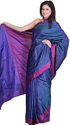 Cerulean Hand-woven Banarasi Sari with Jute Thread on Anchal