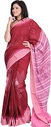 Maroon and Pink Hand Woven Bomkai Sari from Orissa