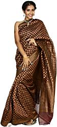 Tawny-Port Banarasi Sari with Hand-woven Paisleys