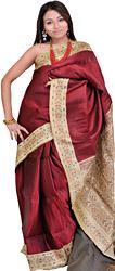 Plain Banarasi Valkalam Sari with Brocade Weave on Anchal
