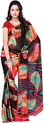 Black Sari from Surat with Arabesque Print