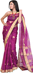 Purple-Magic Chanderi Sari with All Over Hand-woven Bootis in Golden Thread
