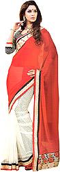 Red-White Wedding Sari with Zardozi Patch Border