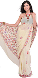 Cream Sari from Kashmir with Ari Embroidered Flowers